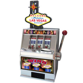 Black & Silver Plastic working Slot Machine Replica. Las Vegas Sign Slot graphics and design on this fun, functioning item.