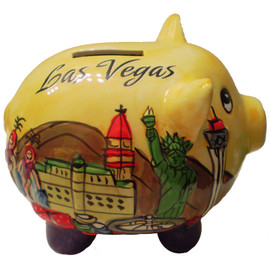 3-D pig shape Yellow puffed up, embossed feel, Las Vegas savings bank.