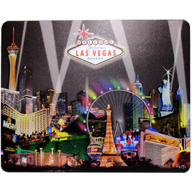 Las Vegas Black Spotlights Design on this Black Background Computer Mousepad.