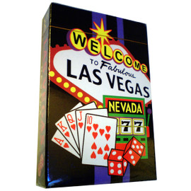 Playing Cards box shows the design on the cards themselves. This design is a black background with a colorful welcome to LV sign and gaming icons all over them.