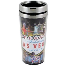 Las Vegas Hotel Collage Travel Mug Souvenir- 16oz.
