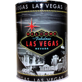 Tin bank in cylinder shape with colorful Las Vegas Sign on a Gray and Black background skyline.