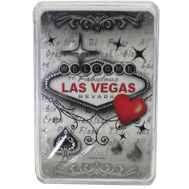 New Playing Cards in a Clear Box for Storage. This deck features our Red & Gray design which has a muted gray background, LV welcome sign, and a Red heart on it.