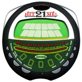 Round case and silver buttons on a electronic Black Jack hand held game.