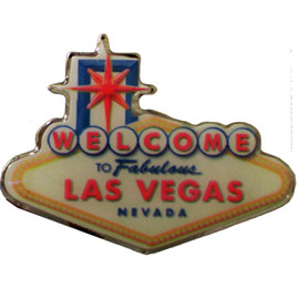 Colorful Welcome to Fabulous Las Vegas Sign replica lapel pin.