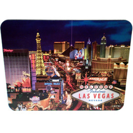 Las Vegas Strip Design on this Blue Background Computer Mousepad.