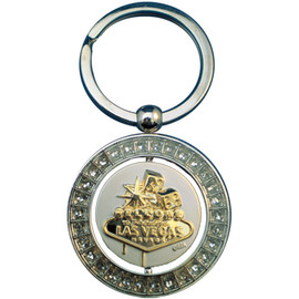 Metal round shape Keyring with Las Vegas sign on spinning middle section.