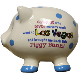 3-D pig shape white with blue dots Las Vegas savings bank.