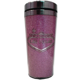 Stainless Steel Sleek Travel Mug which has a Pink Glitter Design all over it. Showcases a Cutout Welcome to Las Vegas Sign Design.
