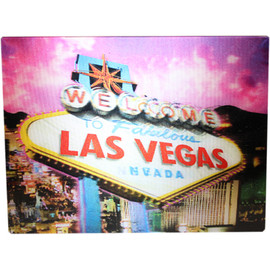 Hologram Magnet Las Vegas Souvenir with Pink Sky and Las Vegas Sign