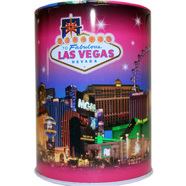 Tin bank in cylinder shape with colorful Pink Skyline Design and background.