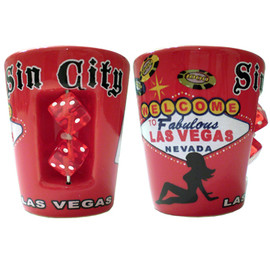 """Sin City"" Red Las Vegas Dice Shot Glass"