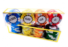 Plastic chip case shows the rows of colorfully wrapped chocolate poker chips to depict different denominations.