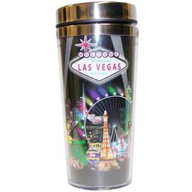 Stainless Steel Sleek Travel Mug which has a Black Spotlights Design all over it. Showcases Vegas Casinos on a Black Spotlight Background.