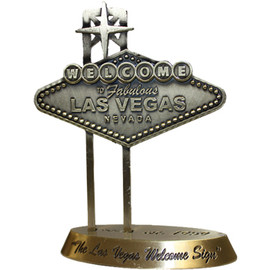 Mini Bronze replica of the Welcome to Las Vegas Sign. Attention to detail on this paperweight.