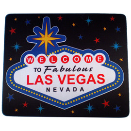 Las Vegas Welcome Sign Design on this Black, Star Background Computer Mousepad.