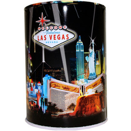 Tin bank in cylinder shape with colorful Black Spotlights Las Vegas Design.
