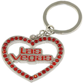 Red Rhinestone out line shape Las Vegas Heart key chain.