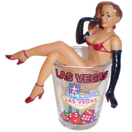 Acrylic Sexy gal scantily clad, sitting on top of a Las Vegas Glass Shot Glass.
