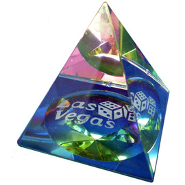 Crystal Pyramid that changes color when you move it in the light. Las Vegas is on the base and seen through each side.