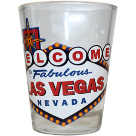 Glass Las Vegas shotglass showing an Colorful Welcome to Las Vegas Sign.