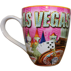 Oversized Las Vegas ceramic coffee mug with a Las Vegas Sign and pink diamonds collage design on a vibrant strip background, side view.