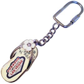 Metal Sandal Shaped Las Vegas Key Ring with easy on Ring.