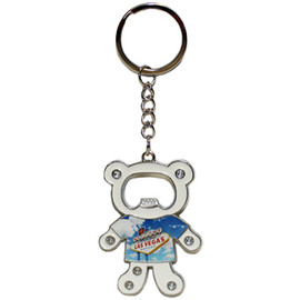 Bear Shape Las Vegas Metal Bottle Opener Key Chain.