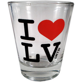 "Glass Las Vegas shotglass with a bold Black Font ""I Red Heart LV"""