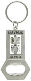 Silver Color Las Vegas bottle opener Keychain that has 2 tiny spinning dice in the middle of the design.