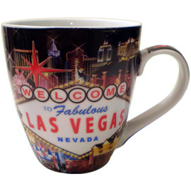 Oversized Las Vegas ceramic coffee mug with a prominent Las Vegas Sign design and a hotel collage in the background.