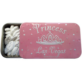 "Tin rectangle slide open box of white ""lip shaped"" mints. Design on Tin is pink background with while imprint of ""Princess Las Vegas"" and a crown."