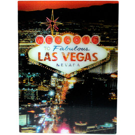 Dark Night Las Vegas Scene Holographic Las Vegas Themed Magnet. Las Vegas at Night.