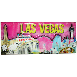 Las Vegas Magnet- Pink Skyline Fun Vegas Icons on a rectangle magnet
