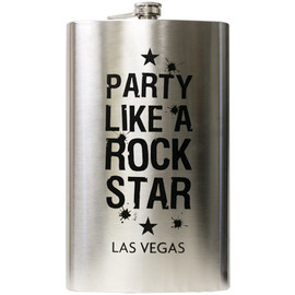 JUMBO metal Las Vegas Flask with Party Like a Rock Star in Black lettering on the front.