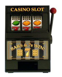 Black Plastic working Slot Machine Replica. Casino Slot graphics and design on this fun, functioning item.
