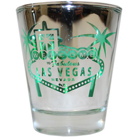 Reflective Glass Las Vegas shotglass with a Green Design palm trees and welcome sign on the front.