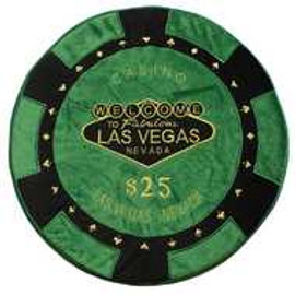 Round Poker Chip Shape Decorative Pillow in Green and Black, designed to replicate a real $25 poker chip.