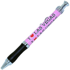 "Pink  design pen with I ""heart"" (Heart in Red) Las Vegas written all over it."
