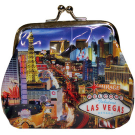 Metal snap closure on this blue plastic Las Vegas Coin purse with our Las Vegas Strip design showcasing the Popular Las Vegas Casinos.