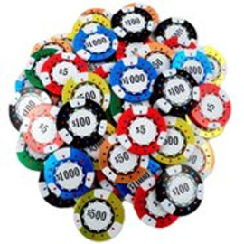 Colorfully wrapped chocolate poker chips to depict different denominations as represented by the different colors.