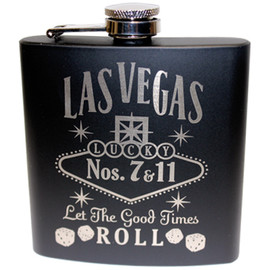 FRONT Las Vegas Black Let The Good Times Roll Flask- 6oz.