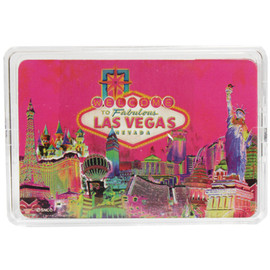 Las Vegas Souvenir Playing Cards- Pink Solar design- clear plastic storage case