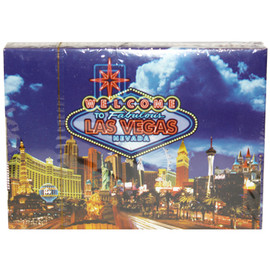 Playing Cards box shows the design on the cards themselves. This design is a blue sky background with a Neon Bright welcome to LV sign and popular Las Vegas Casinos on them.