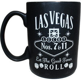 Black ceramic Las Vegas souvenir mug with a Gray design on both sides, left view.
