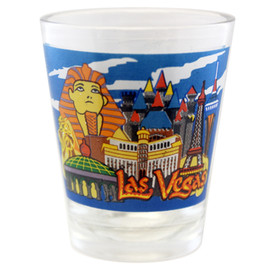 Clear Glass colorful design Las Vegas Shotglass front view.