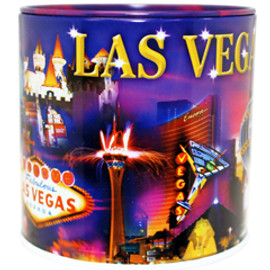 Tin bank in cylinder shape with colorful Metallic City Iconic Casinos Collage.
