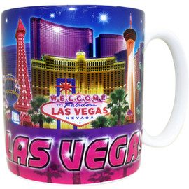 Oversized Las Vegas Souvenir Ceramic mug with a Blue and Purple collage of the Las Vegas Strip.