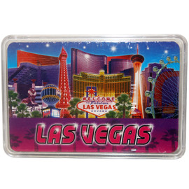 New Playing Cards in a Clear Box for Storage. This deck features our Blue & Purple design which shows Vegas Casinos on a colorful background.