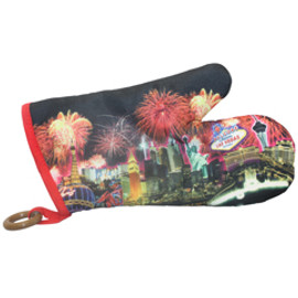 Oven Mitt Souvenir from Las Vegas with a colorful Fireworks print design on it.
